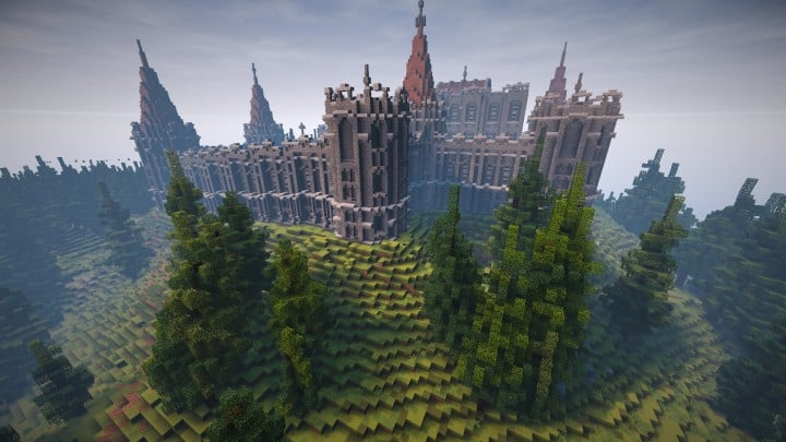 Abandoned Medieval Castle minecraft building blueprints download river