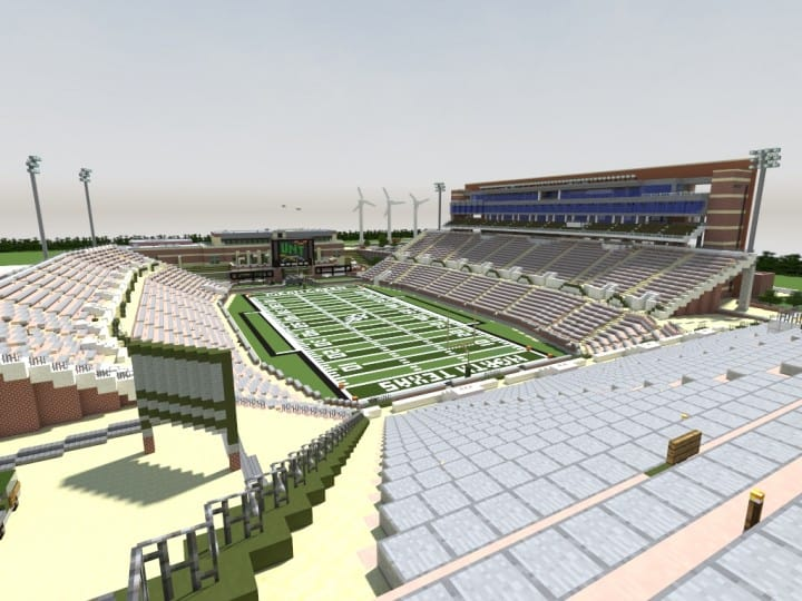Apogee Stadium with Touchdown Rollercoaster minecraft building ideas download saves 11