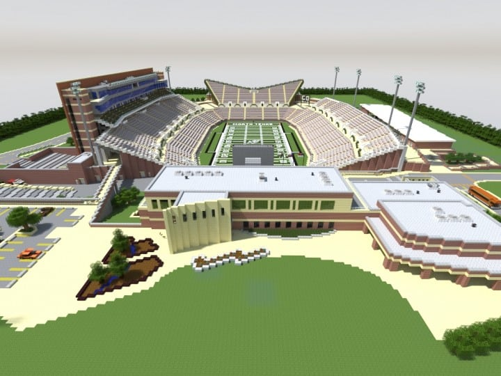 Apogee Stadium with Touchdown Rollercoaster minecraft building ideas download saves 14