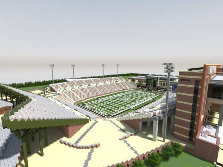 Apogee Stadium with Touchdown Rollercoaster minecraft building ideas download saves 16