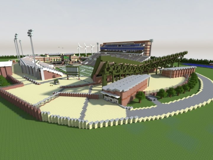 Apogee Stadium with Touchdown Rollercoaster minecraft building ideas download saves 21