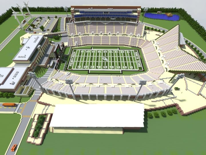 Apogee Stadium with Touchdown Rollercoaster minecraft building ideas download saves 6