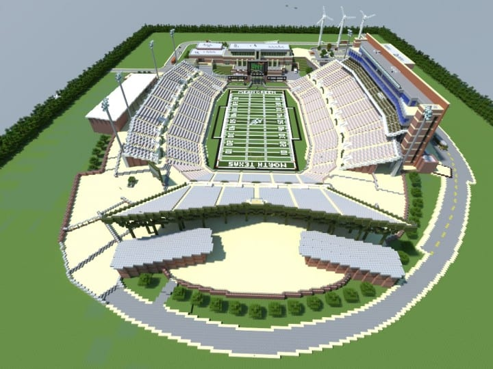Apogee Stadium with Touchdown Rollercoaster minecraft building ideas download saves 7