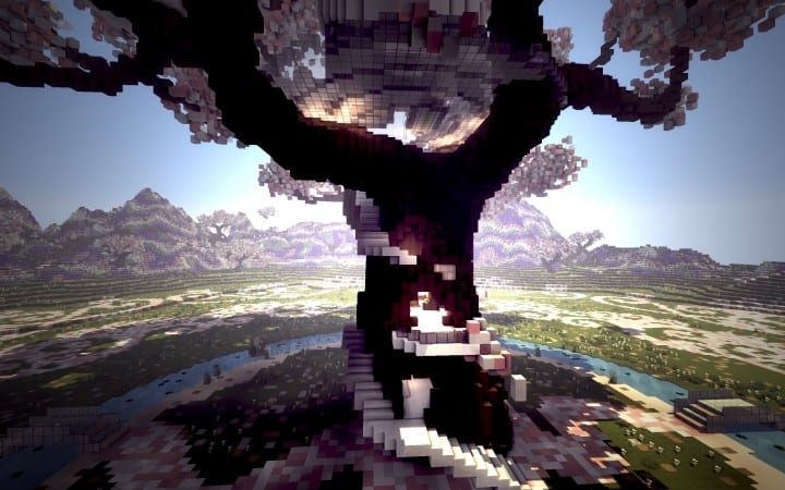 Peaceful Cherry Valley minecraft inspiration download floating beautiful art 10