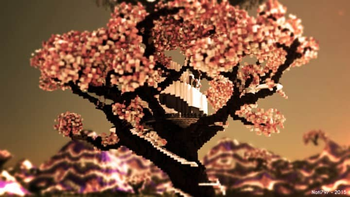 Peaceful Cherry Valley minecraft inspiration download floating beautiful art 2