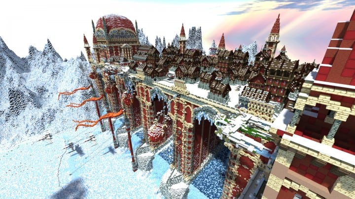 TheReawakens Days of Creations The Bridge City of Non Anor Minecraft building ideas download town snow winter tower 2