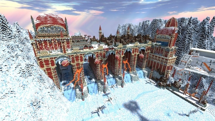 TheReawakens Days of Creations The Bridge City of Non Anor Minecraft building ideas download town snow winter tower 3