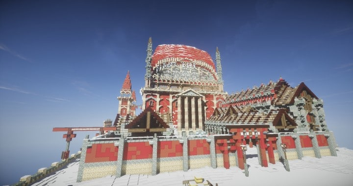 TheReawakens Days of Creations The Bridge City of Non Anor Minecraft building ideas download town snow winter tower 6