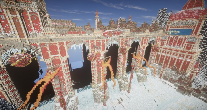 TheReawakens Days of Creations The Bridge City of Non Anor Minecraft building ideas download town snow winter tower 7