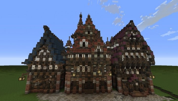 Three merovian houses minecraft building ideas download medieval