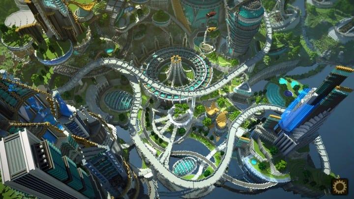 Tomorrowland disney minecraft gameplay city adventure theme park building ideas futuristic 3