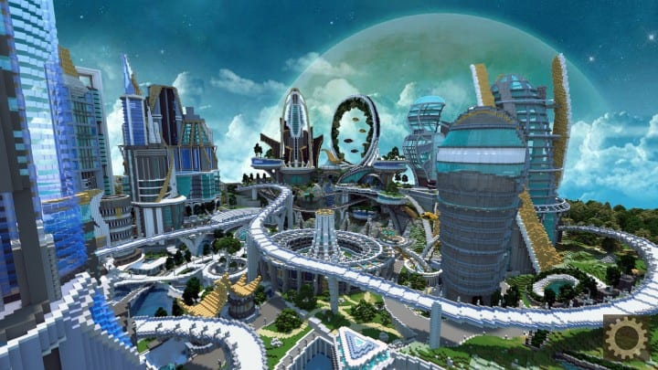 Tomorrowland disney minecraft gameplay city adventure theme park building ideas futuristic 4