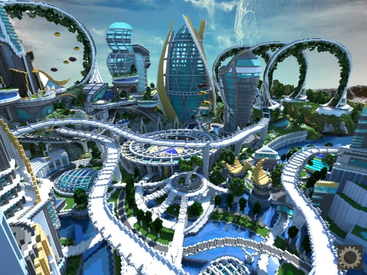Tomorrowland disney minecraft gameplay city adventure theme park building ideas futuristic 5