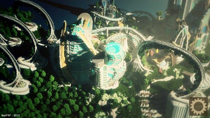 Tomorrowland disney minecraft gameplay city adventure theme park building ideas futuristic 6