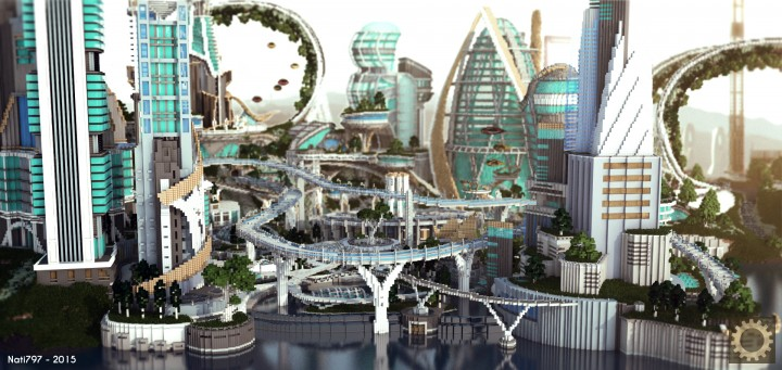Tomorrowland disney minecraft gameplay city adventure theme park building ideas futuristic