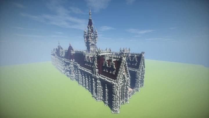 Benedictine Palace A Neo-Gothic palace minecraft building ideas amazing stone old 3