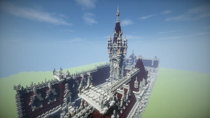 Benedictine Palace A Neo-Gothic palace minecraft building ideas amazing stone old 6