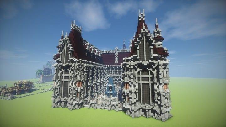 Benedictine Palace A Neo-Gothic palace minecraft building ideas amazing stone old 9