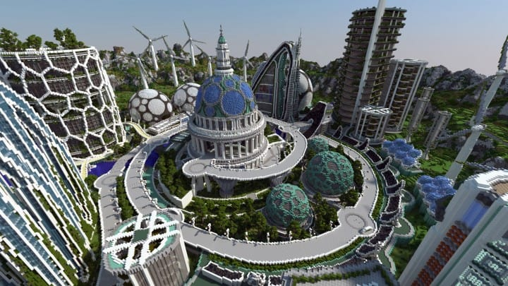 Climate Hope City Minecraft building ideas download amazing crazy dome 3