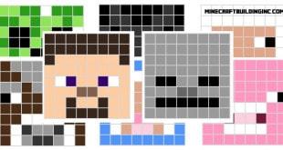 Minecraft pixle art template creeper ender steve all default char