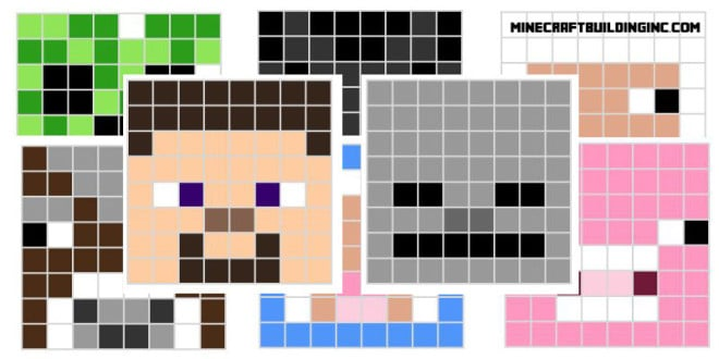 Main minecraft character pixel templates minecraft for How to make minecraft pixel art templates