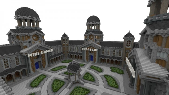 Courtyard Hub 4 Portals minecraft spawn building download world save creative survival 2