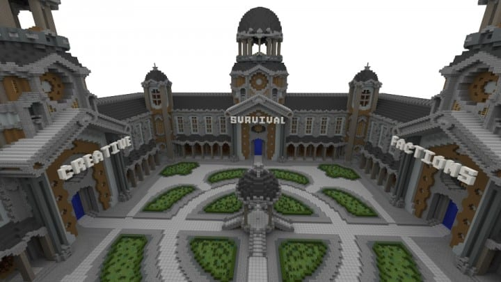 Courtyard Hub 4 Portals minecraft spawn building download world save creative survival 3
