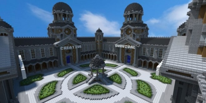Courtyard server hub 4 portals minecraft building inc for How to save to build a house