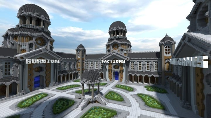 Courtyard Hub 4 Portals minecraft spawn building download world save creative survival fractions