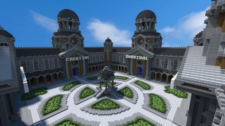 Courtyard Hub 4 Portals minecraft spawn building download world save creative survival