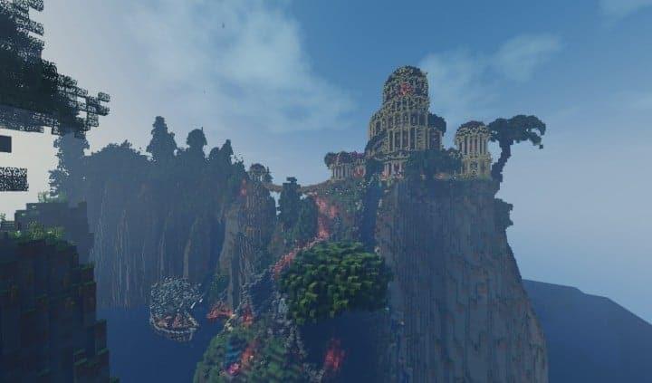 Elvish Outpost Arien Helyanwë minecraft build waterfall tower sky bridge sail boat 2