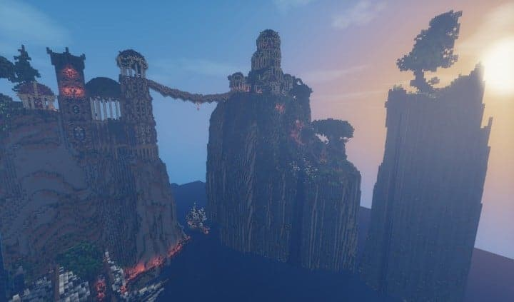 Elvish Outpost Arien Helyanwë minecraft build waterfall tower sky bridge sail boat 3