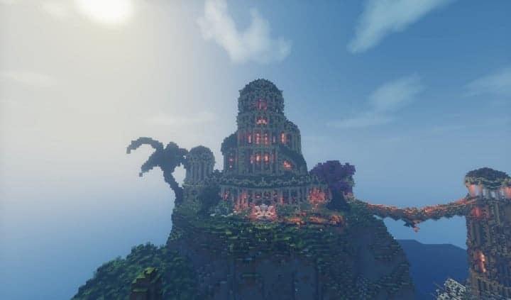 Elvish Outpost Arien Helyanwë minecraft build waterfall tower sky bridge sail boat 4