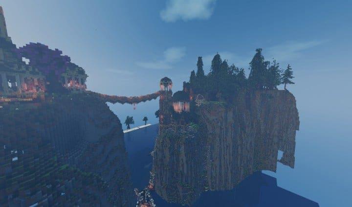 Elvish Outpost Arien Helyanwë minecraft build waterfall tower sky bridge sail boat 5