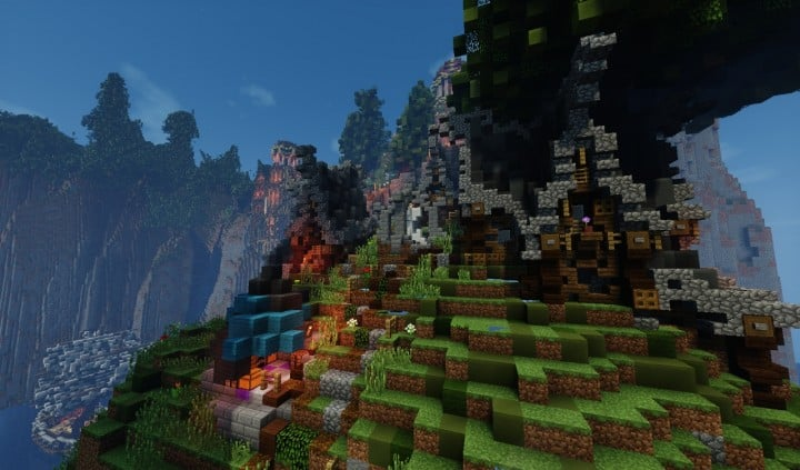 Elvish Outpost Arien Helyanwë minecraft build waterfall tower sky bridge sail boat 7