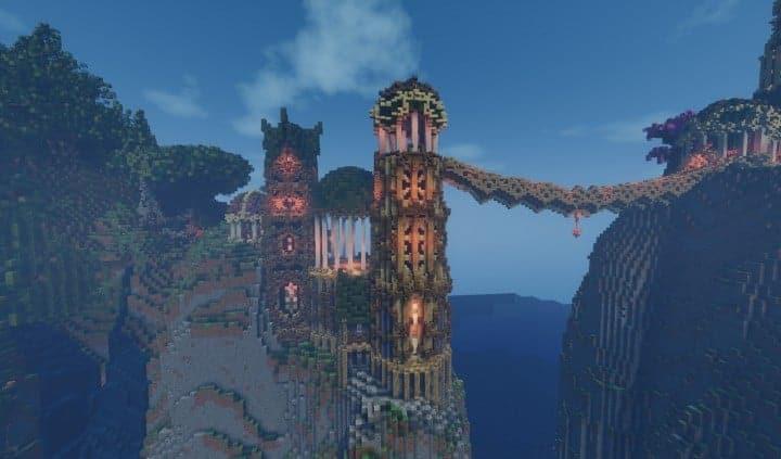 Elvish Outpost Arien Helyanwë minecraft build waterfall tower sky bridge sail boat 8