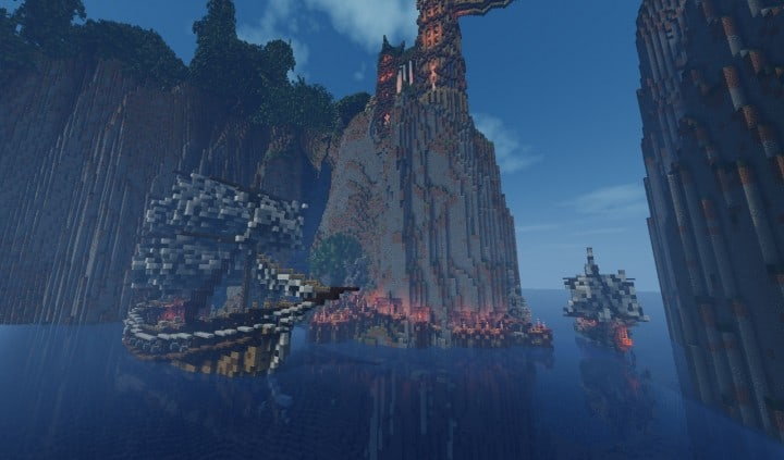 Elvish Outpost Arien Helyanwë minecraft build waterfall tower sky bridge sail boat 9