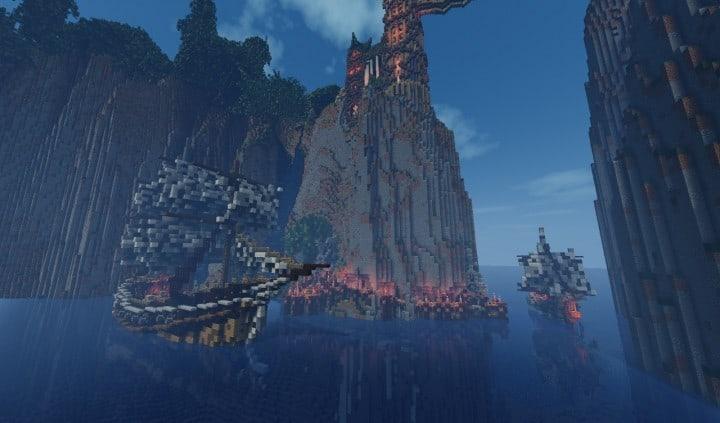Elvish Outpost Arien Helyanwë minecraft build waterfall tower sky bridge sail boat 9