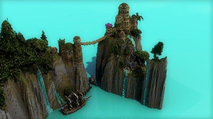 Elvish Outpost Arien Helyanwë minecraft build waterfall tower sky bridge sail boat