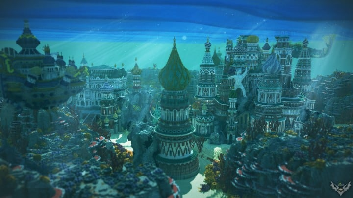 Faberzhe Palace minecraft underwater buiding idea sea castle tower 2