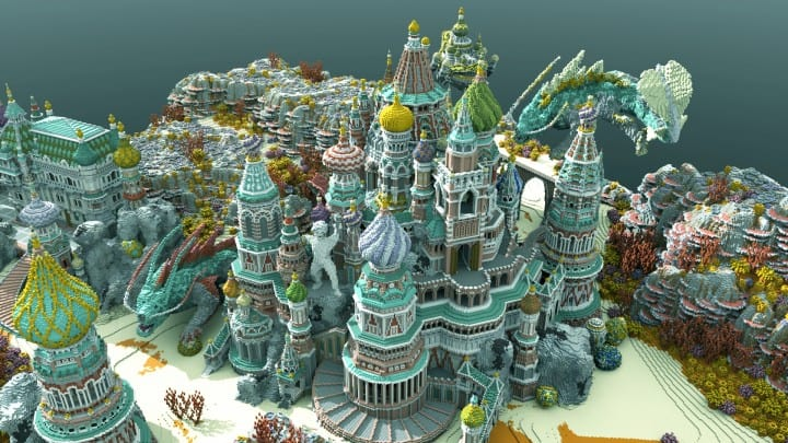 Faberzhe Palace minecraft underwater buiding idea sea castle tower 4
