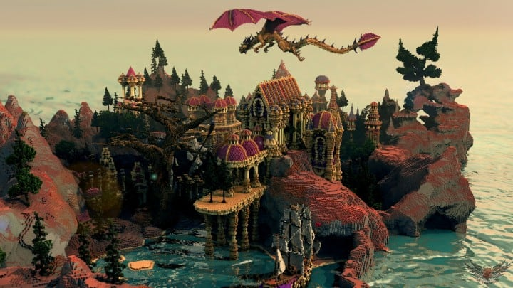 Niteal - The Lost Kingdom McBcon minecraft building castle idea amazing how dragon