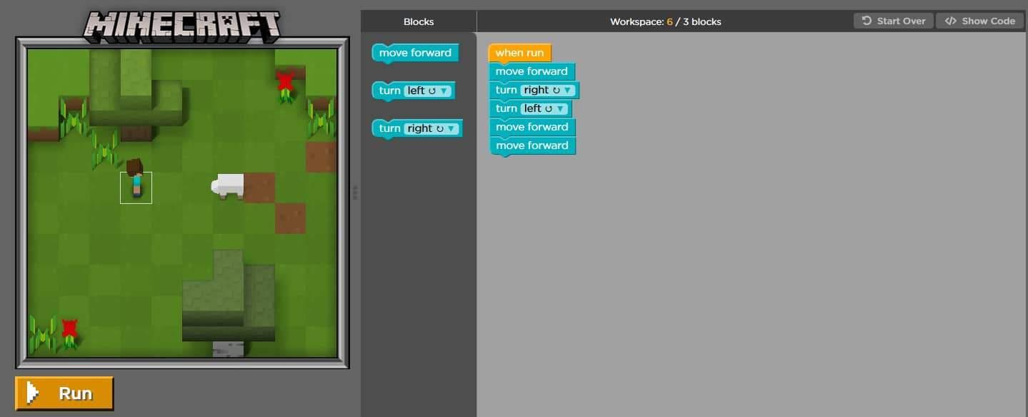 Learn to code minecraft screenshot