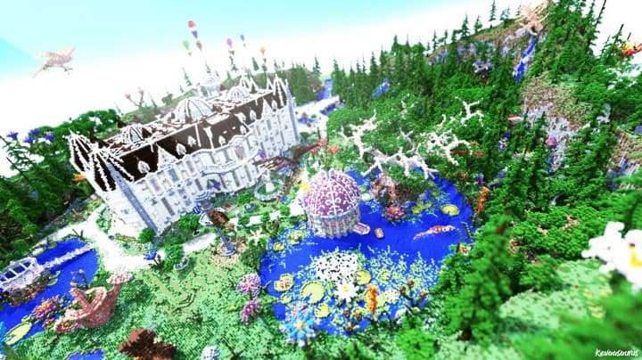 PineVale Mansion fantasy house minecraft building ideas world save download 2
