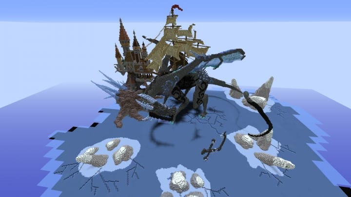 Organic dragon Lost in the frost minecraft build castle sky floating save 6