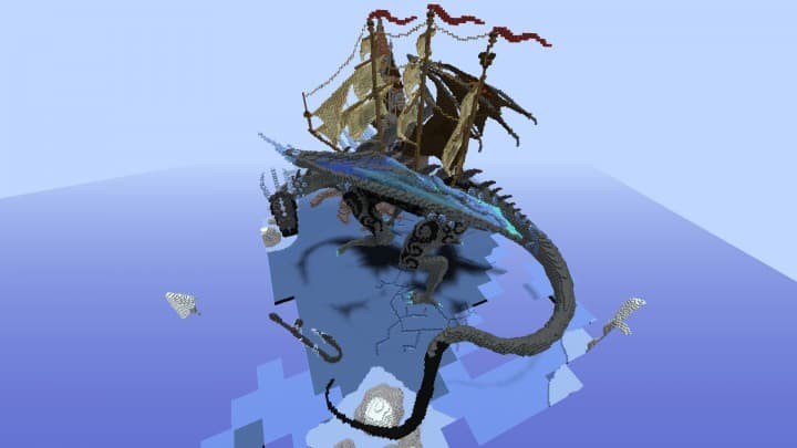 Organic dragon Lost in the frost minecraft build castle sky floating save 7