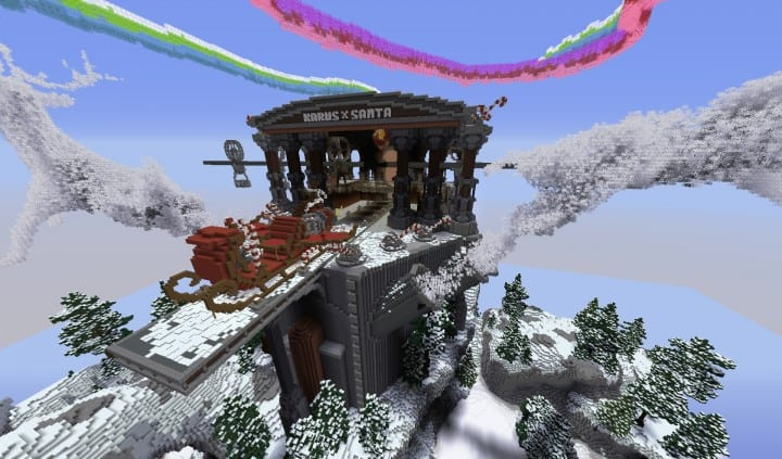 Santa's Outpost minecraft building ideas xmas 2015 download save holiday nortern lights 12