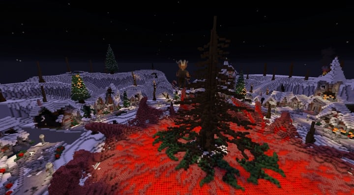 Twisted Christmas village minecraft building idea holiday gift present tree cottage giner bread houses town center 10