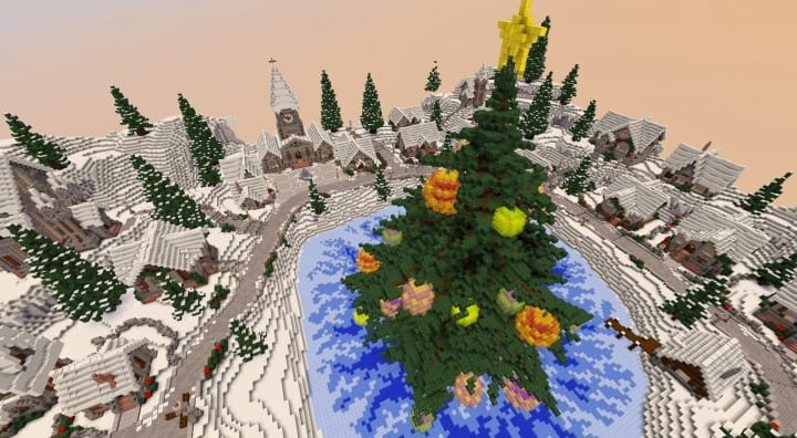 Twisted Christmas village minecraft building idea holiday gift present tree cottage giner bread houses town center 4