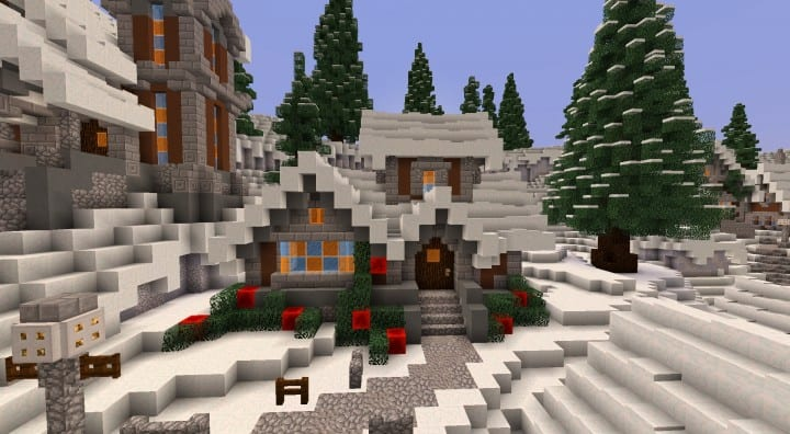 Twisted Christmas village minecraft building idea holiday gift present tree cottage giner bread houses town center 5
